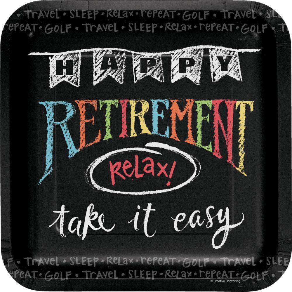 Creative Converting Retirement Chalk Paper Plates 8 Ct Walmart Com Walmart Com