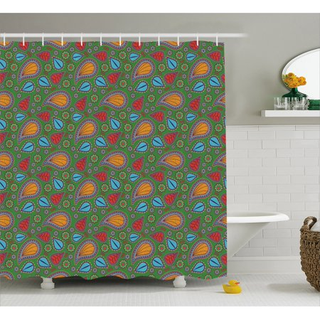 Ethnic Shower Curtain Image With Swirls Floral Details Paisley Design Fern Green Backdrop