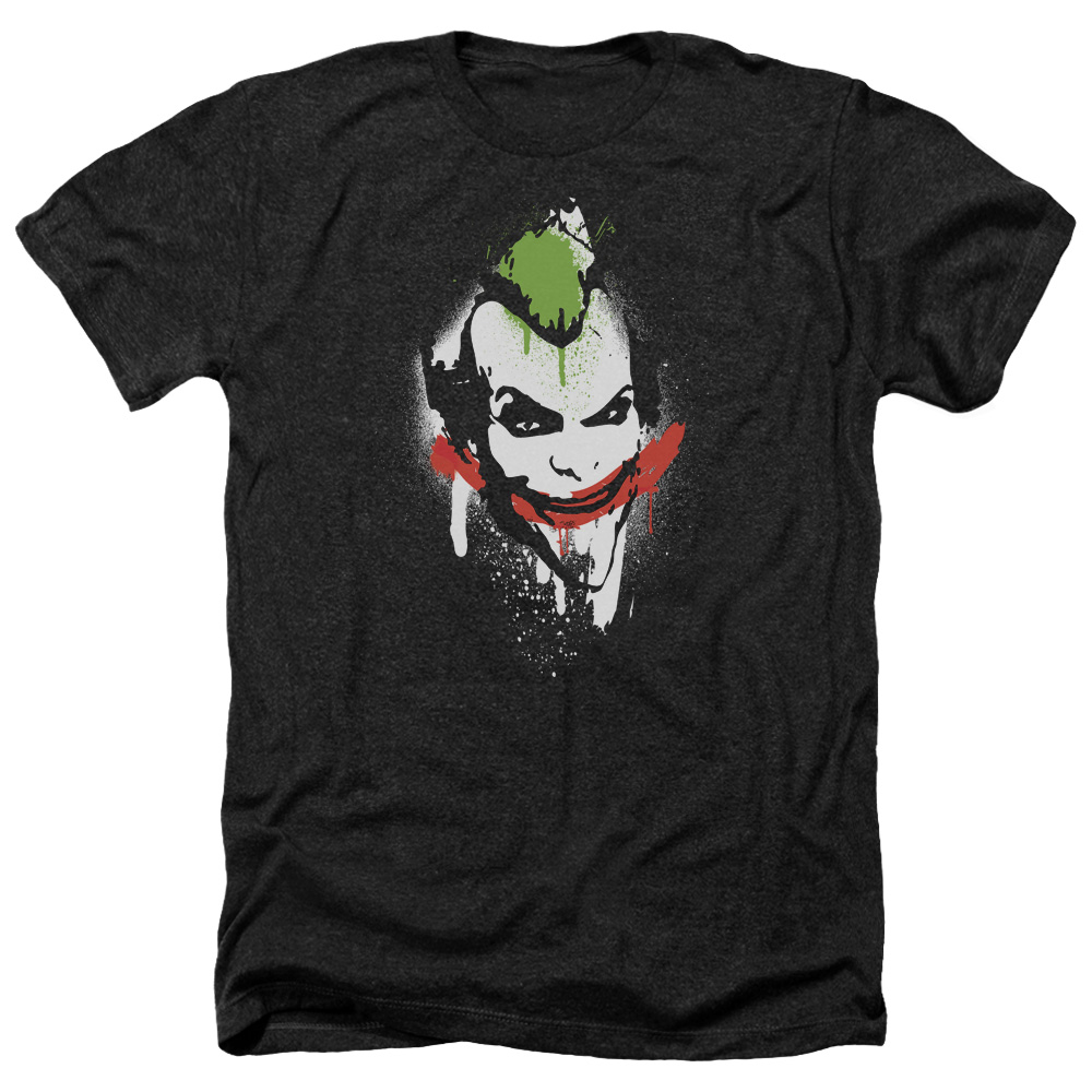 Arkham City Spraypaint Smile Mens Heather Shirt