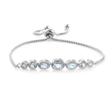 Ebel Classic Bracelets (Oval Sky Blue Topaz Adjustable Sliding Bolo Tennis Bracelet Jewelry for Women Classic Jewelry Ct 2.4 )