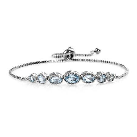 Oval Sky Blue Topaz Adjustable Sliding Bolo Tennis Bracelet Jewelry for Women Classic Jewelry Ct 2.4 Sky Blue Bracelets