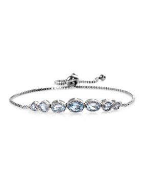 Oval Sky Blue Topaz Adjustable Sliding Bolo Tennis Bracelet Jewelry for Women Classic Jewelry Ct 2.4