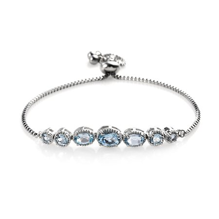 Oval Sky Blue Topaz Adjustable Sliding Bolo Tennis Bracelet Jewelry for Women Classic Jewelry Ct 2.4 ()