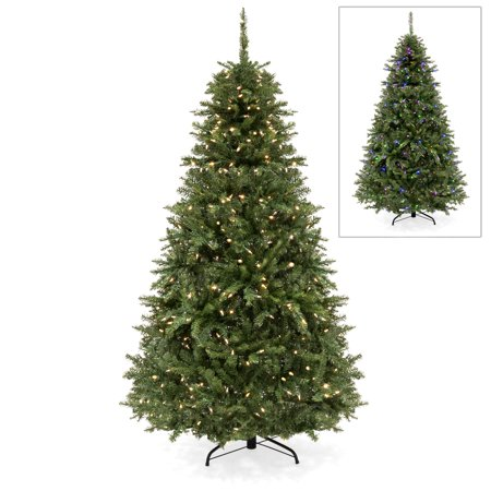 Best Choice Products 6ft Hinged Color Changing Full Fir Christmas Tree with 450 LED Lights, 8 Multicolor and Warm White Light Settings, Foldable Metal Stand, Controller ()