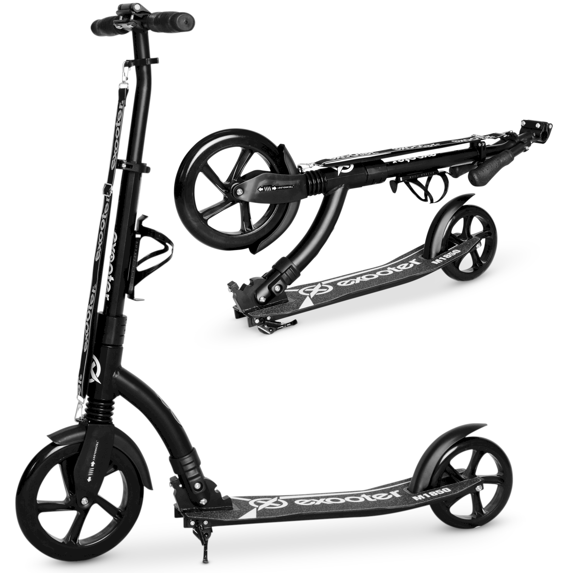 EXOOTER M1850WB 6XL Adult Kick Scooter With Front Shocks And 240mm 180mm Black Wheels In... by EXOOTER
