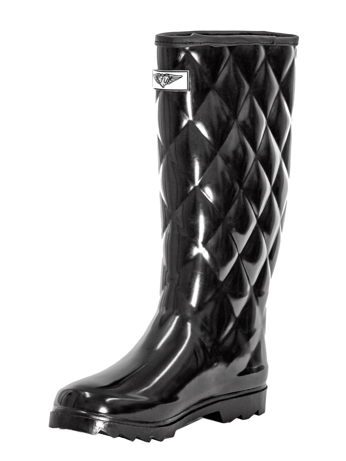 Women Quilted Style Black Rubber Rain Boots