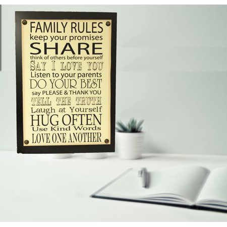 Wooden Plaque with Family Rules Sign; Product Size: 13 x 18.5 x 1.25. Accent any room, home , shop, school, Dorm.