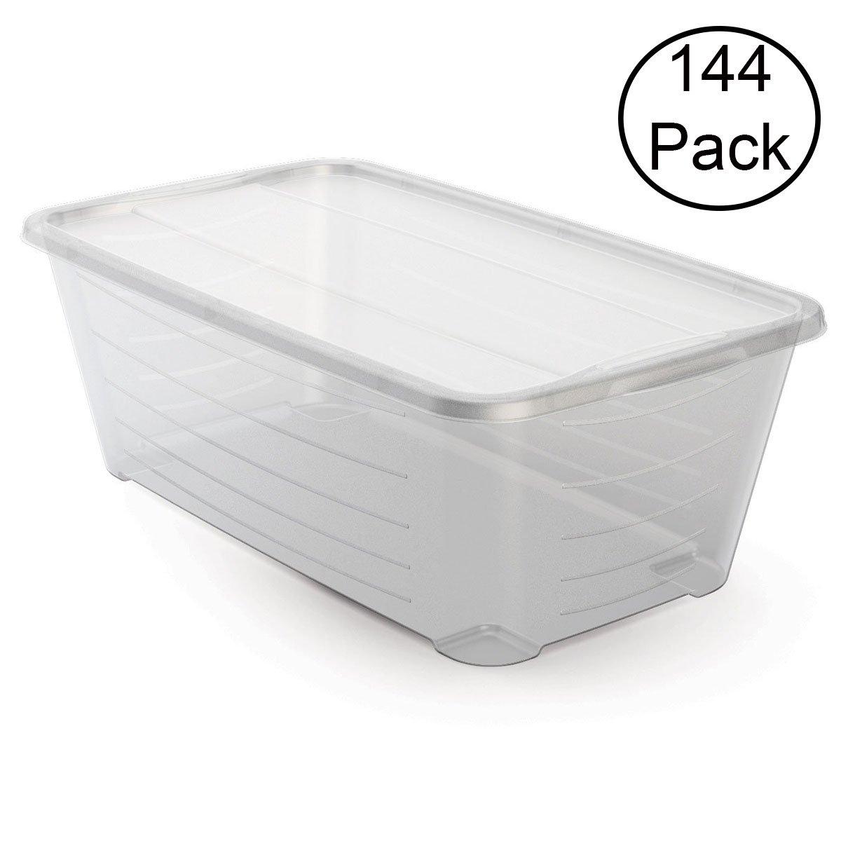 Life Story 5.5 Quart Rectangular Clear Protective Storage Shoe Box (144 Pack)