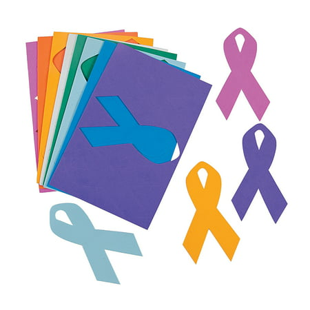 Fun Express - Cancer Awareness Foam Ribbon Shapes - Craft Supplies - Foam Shapes - Jumbo - 24 Pieces - Crafting Supplies