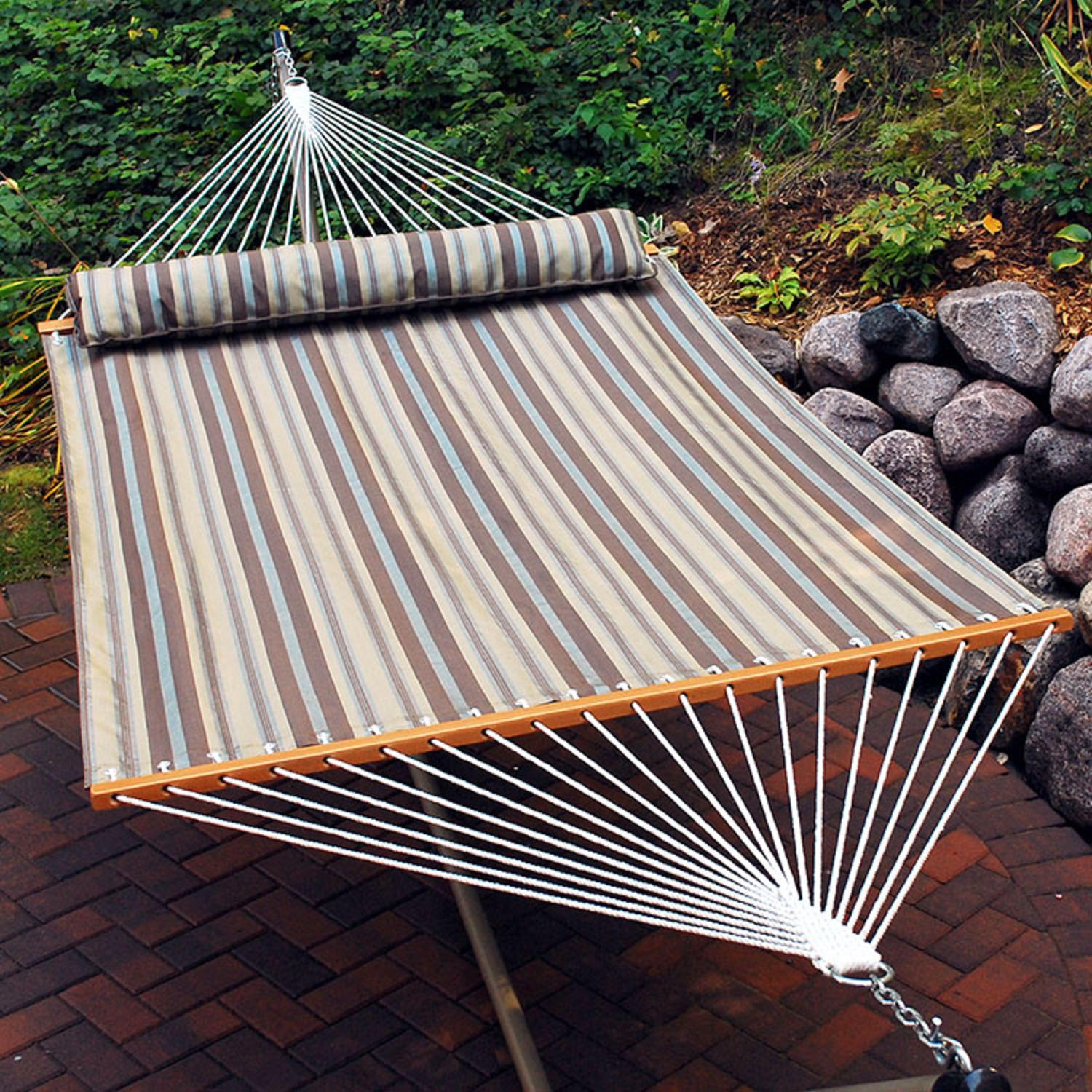 "82"" x 55"" Tan and Gray Earth Tone Striped Quick Dry Double Hammock with Pillow"