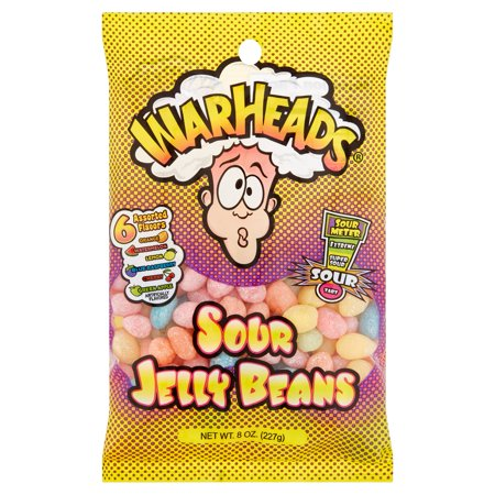 Warheads, 6 Assorted Flavors Sour Jelly Beans, 8 Oz (Jelly Bean Poem)