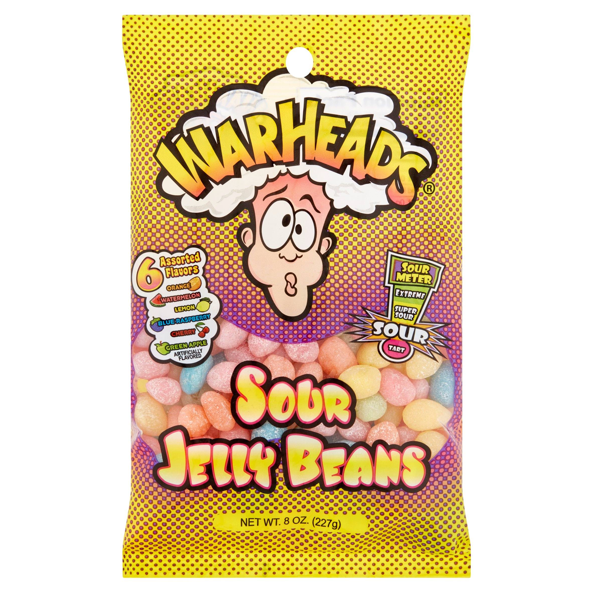 Warheads, 6 Assorted Flavors Sour Jelly Beans, 8 Oz