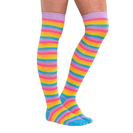Neon Bright Electric Party Above the Knee Rainbow Striped Socks Accessory, Fabric, Women's Size 4-10