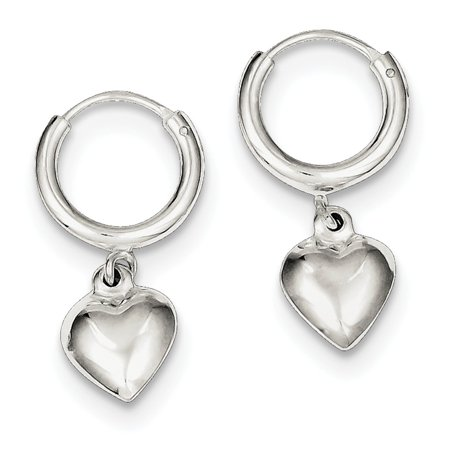 Sterling Silver Polished Puff Heart Dangle Hoop (Powder Puff Earrings)