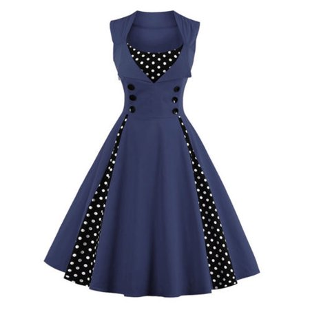 Plus Size Womens 50s 60s Vintage Retro Dress Swing Rockabilly Evening Cocktail Party Skirt V Neck Sleeveless - 60s Attire