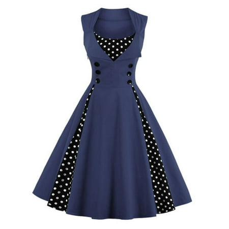Plus Size Womens 50s 60s Vintage Retro Dress Swing Rockabilly Evening Cocktail Party Skirt V Neck Sleeveless