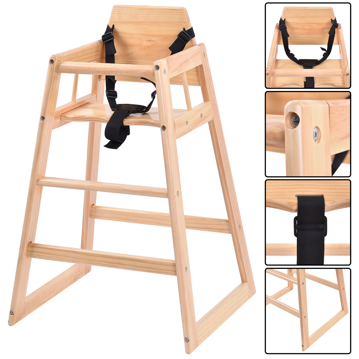 Costway Baby High Chair Wooden Stool Infant Feeding Children Toddler Restaurant Natural