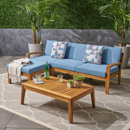 Grenada Sectional Sofa Set, 5-Piece 3-Seater, Includes Coffee Table and Ottoman, Acacia Wood Frame, Water-Resistant Cushions, Teak and Blue