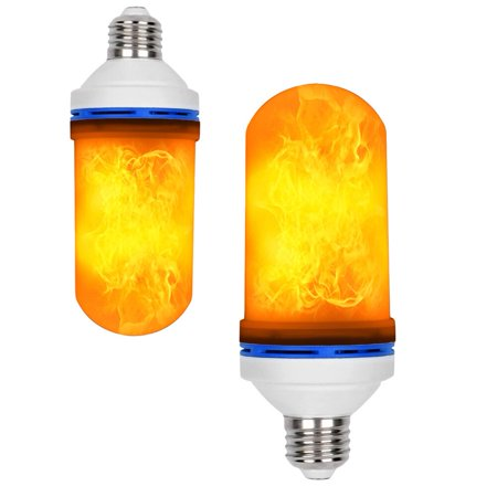 (Effect Flame LED Bulb, Simulation Flickering Fire Effect Decorative Light, Auto Upside Down E26 4 Molds Flame Light)