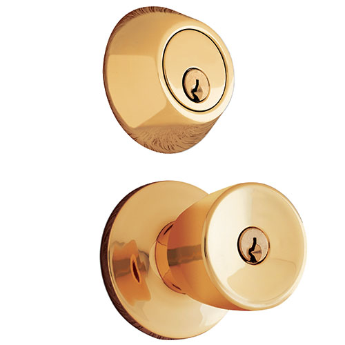 Mountain Security Keyed Entry Door Knob Tulip U0026 Deadbolt Combo Pack,  Polished Brass