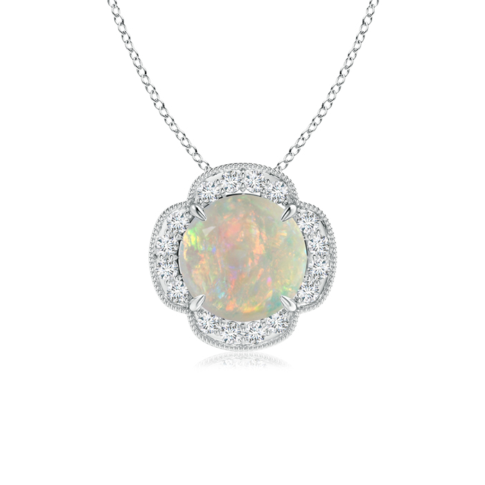 Mother's Day Jewelry Necklace Claw Set Diamond Halo Cabochon Opal Clover Pendant in 950 Platinum (8mm Opal)... by Angara.com
