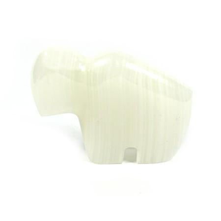 Pearlescent Stone Buffalo Figure, 2.5