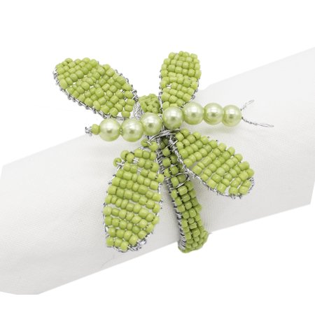 Fennco Styles Glass Beads Hand Beaded Butterfly Napkin Ring - Set of 4 (Olive)