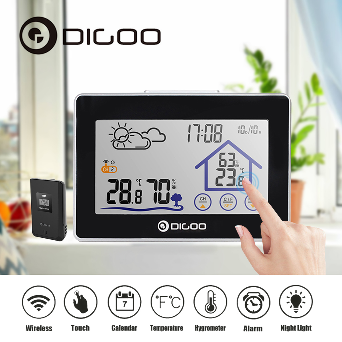 Digoo Wireless Weather Station LED Screen Wireless Weather Forecast Station Back-light Time Date Display Humidity Temperature Meter Monitor Thermometer Hygrometer Clock
