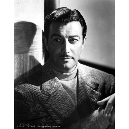 Robert Taylor Posed in Turtle Neck Shirt and Suit Photo - Turtle Suit