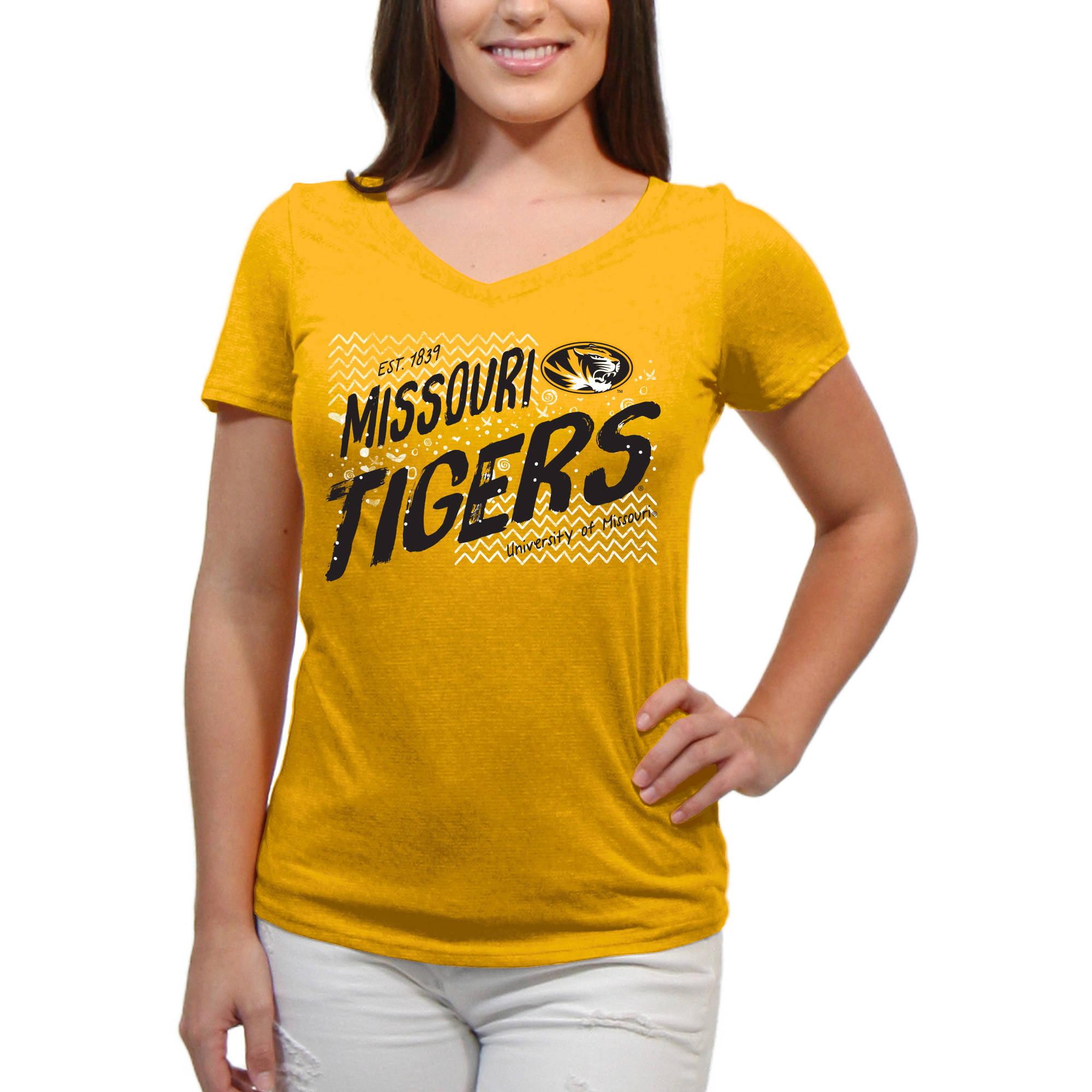 Missouri Mizzou Scatter Doodle Women'S/Juniors Team Short Sleeve V Neck Tee Shirt