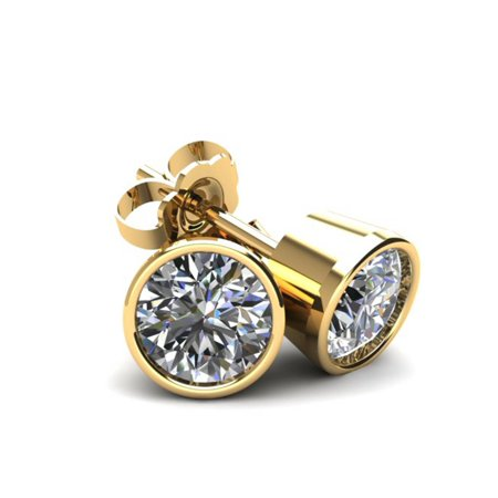 1.25Ct Round Brilliant Cut Natural Diamond Stud Earrings in 14K Gold Round Bezel Setting