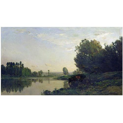"Trademark Fine Art ""The Banks of the Oise 1866"" Canvas Art by Charles Daubigny"