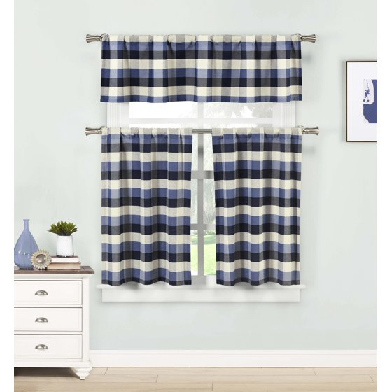 Gingham Curtains Red And White Gingham Curtains Kitchen: Blue Three Piece Kitchen/Cafe Tier Window Curtain Set