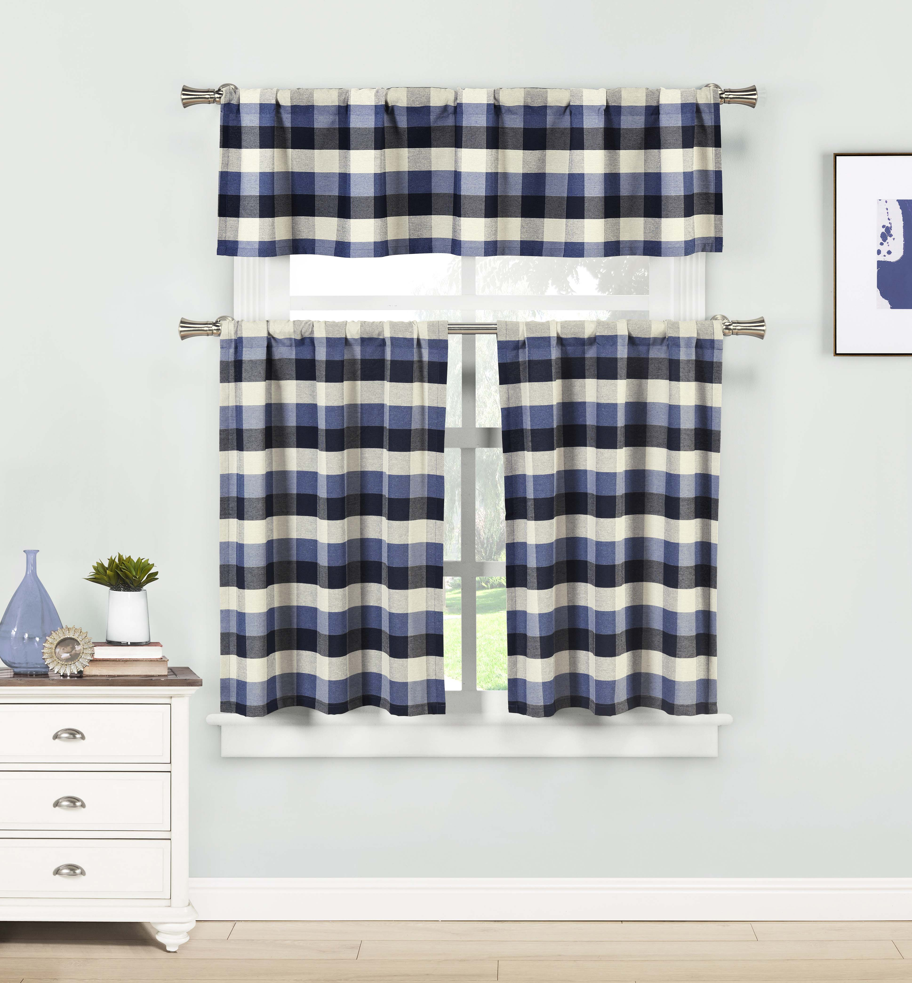 Blue Three Piece Kitchen/Cafe Tier Window Curtain Set: Large Gingham Check Pattern, Cotton Blend Fabric