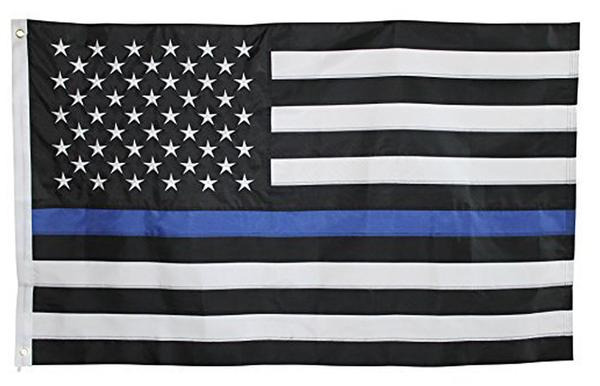 Thin Blue Line Sewn & Embroidered American Flag, 3 ft x 5 ft DuraSleek