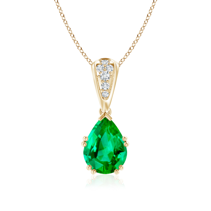 Angara Vintage Emerald Necklace with Diamond Accents in White Gold st63r