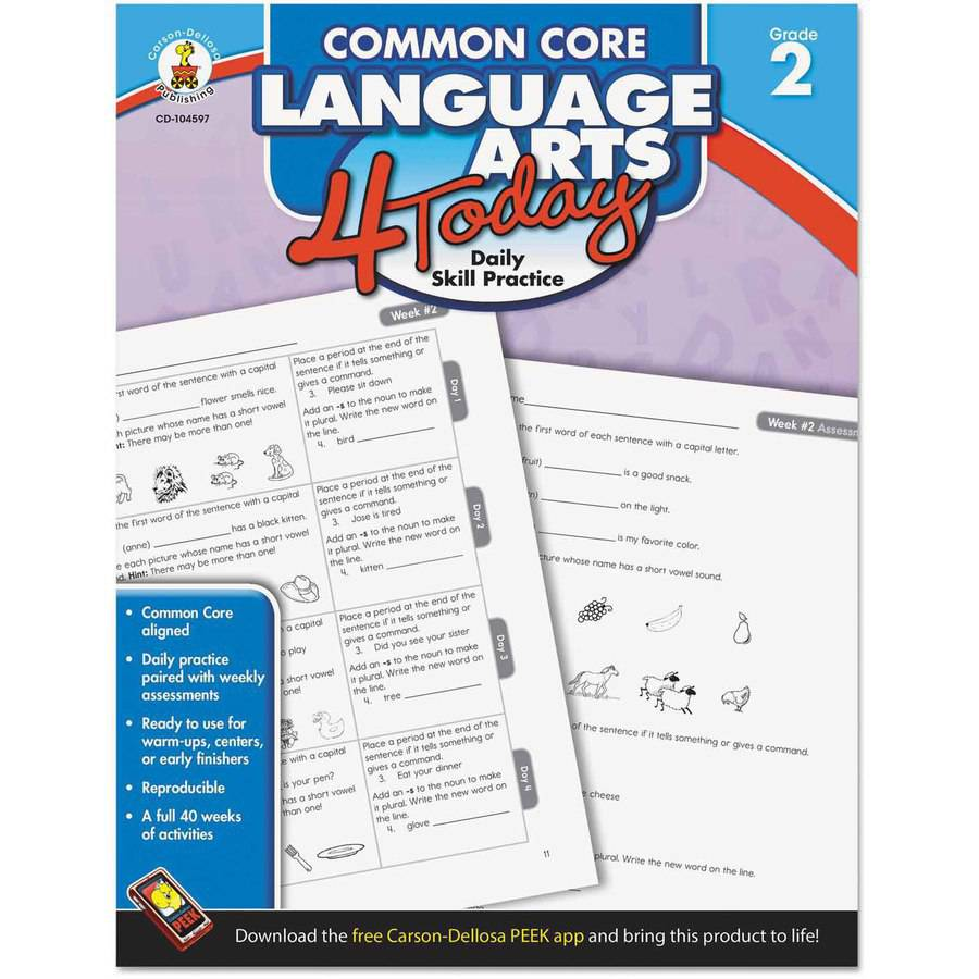 "Carson-Dellosa Publishing Common Core 4 Today Workbook, Language Arts, Grade 2"", 96 pages"
