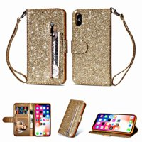 For Apple iphone XS Max Wallet Leather Case Shockproof Multifunction Zipper Card Pocket Cover