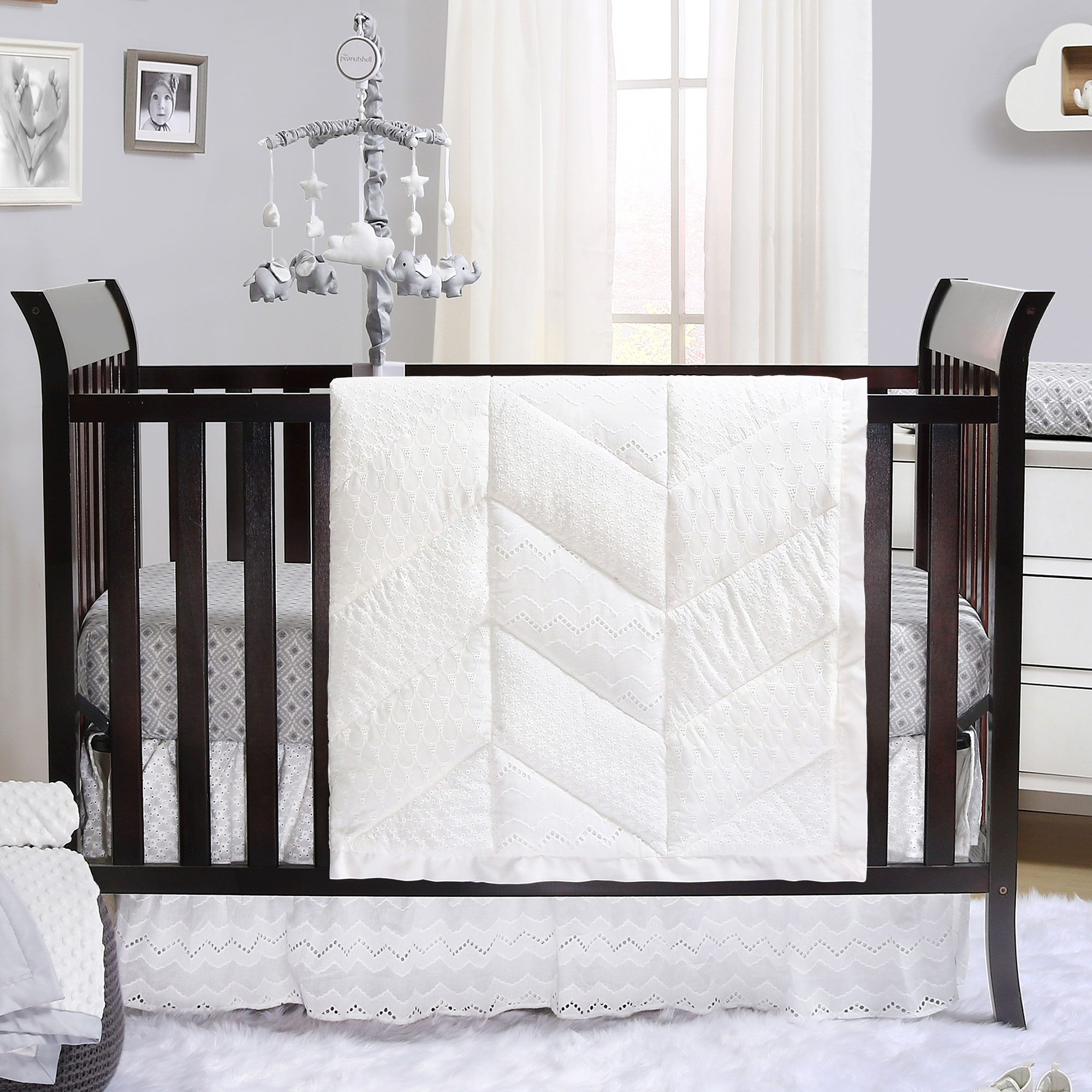 Taylor White Eyelet 4 Piece Baby Crib Bedding Set by The Peanut Shell by The Peanut Shell