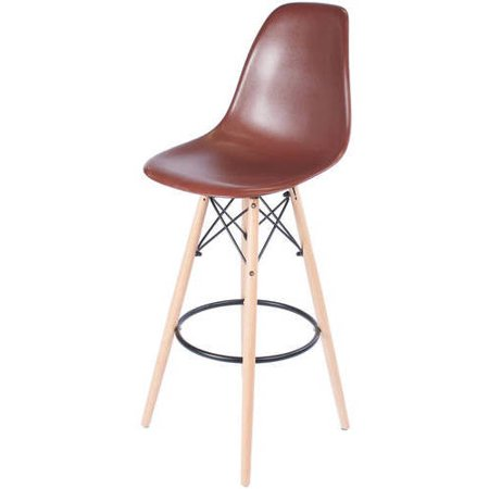 Eames Style Bar Stool With Tall Wooden Base