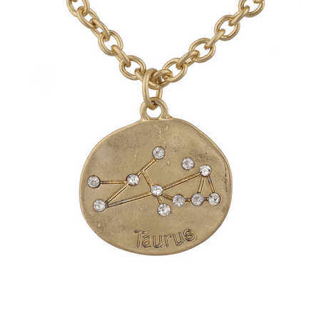 Tone Crystal Floral Necklace (Lux Accessories Gold Tone Crystal Taurus Zodiac Constellation Horoscope Necklace)