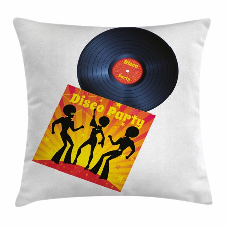 70s Party Decorations Throw Pillow Cushion Cover, Vinyl Record Cover with Disco Party Illustration Dancers Music, Decorative Square Accent Pillow Case, 16 X 16 Inches, Black Red Yellow, by Ambesonne (70s Gogo Dancer)