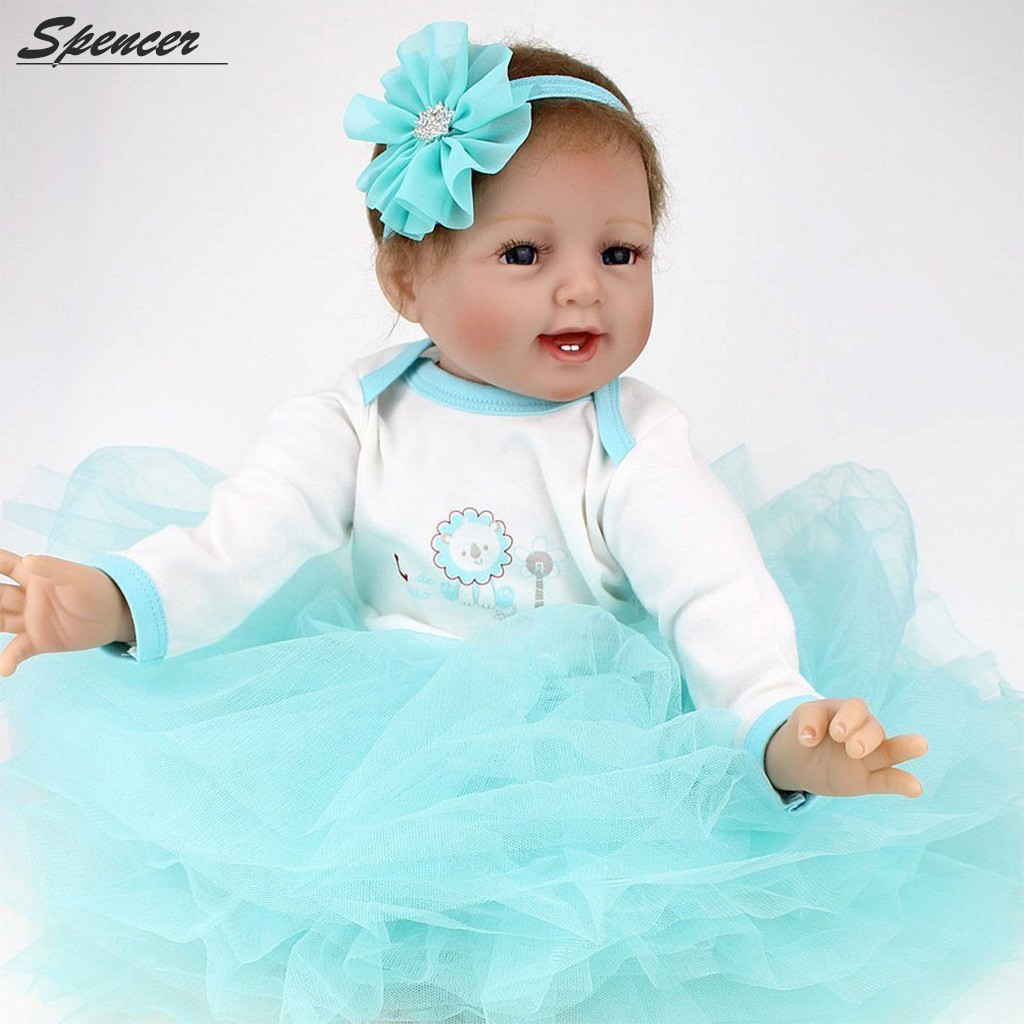 "Spencer 22"" Realistic Reborn Baby Doll Girls Full Body Silicone Vinyl Lifelike Baby Toy Handmade Xmas Gift"