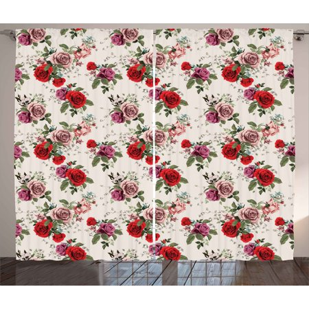 Shabby Chic Curtains 2 Panels Set, Summer Spring Romantic Valetines Day Themed Flowers Roses Leaf, Window Drapes for Living Room Bedroom, 108W X 84L Inches, Forest Green Red and Lilac, - Forest Themed Room Ideas