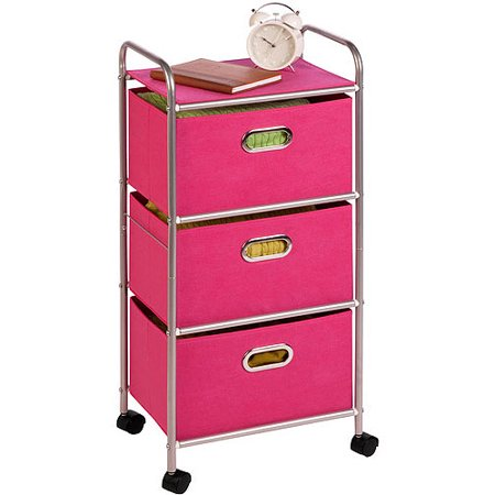 honey can do plastic rolling cart with 3 fabric drawers multicolor. Black Bedroom Furniture Sets. Home Design Ideas