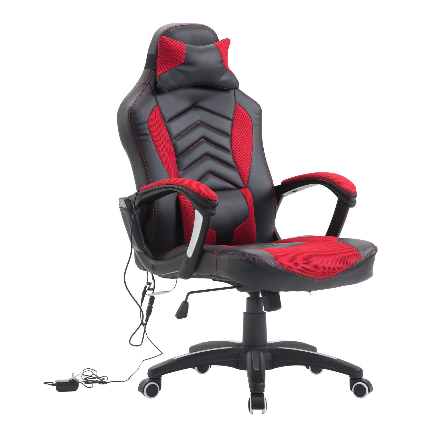 HomCom Modern Ergonomic PU Leather Heated Vibrating Massage Office Chair - Red