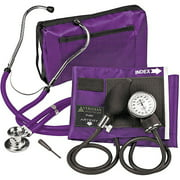 Veridian 02-12611 Adjustable Aneroid Sphygmomanometer with Sprague Stethoscope Kit, Adult, Purple