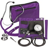 Veridian Healthcare Sterling ProKit Adjustable Aneroid Sphygmomanometer with Sprague Stethoscope, Adult, Purple