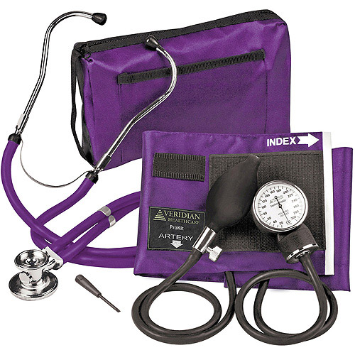 Veridian Healthcare Sterling ProKit Adjustable Aneroid Sphygmomanometer with Sprague Stethoscope, Adult, Purple