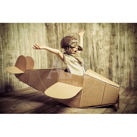 Cute Dreamer Boy Playing with a Cardboard Airplane. Childhood. Fantasy, Imagination. Retro Style. Print Wall Art By prometeus